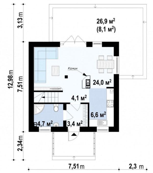 dvuhetazhnii-dom-sip-panel-90m-plan-1f